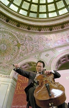 Event Producer, Co-Curator, Programmer for music events, series and programs at the historic Chicago Cultural Center. YoYo Ma and his Silk Road Ensemble perform in photo.