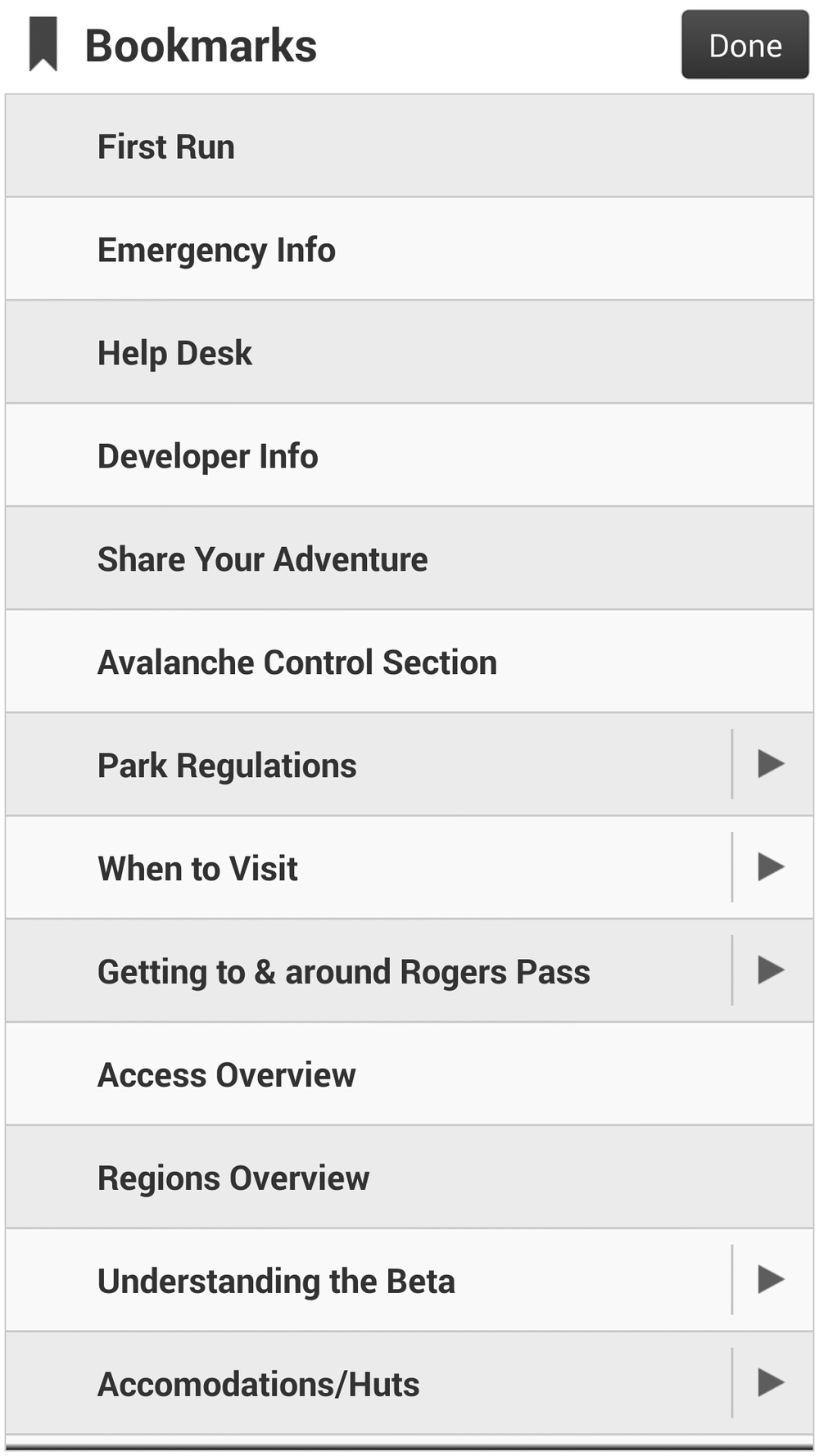 Image 4: Bookmarks Menu. AKA: Table of Contents.