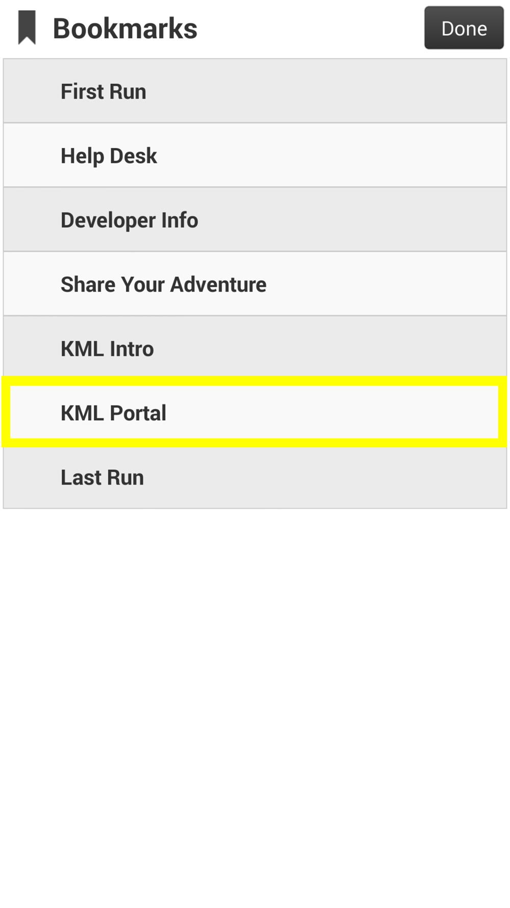 Image 4: In Bookmarks, choose 'KML Portal'.