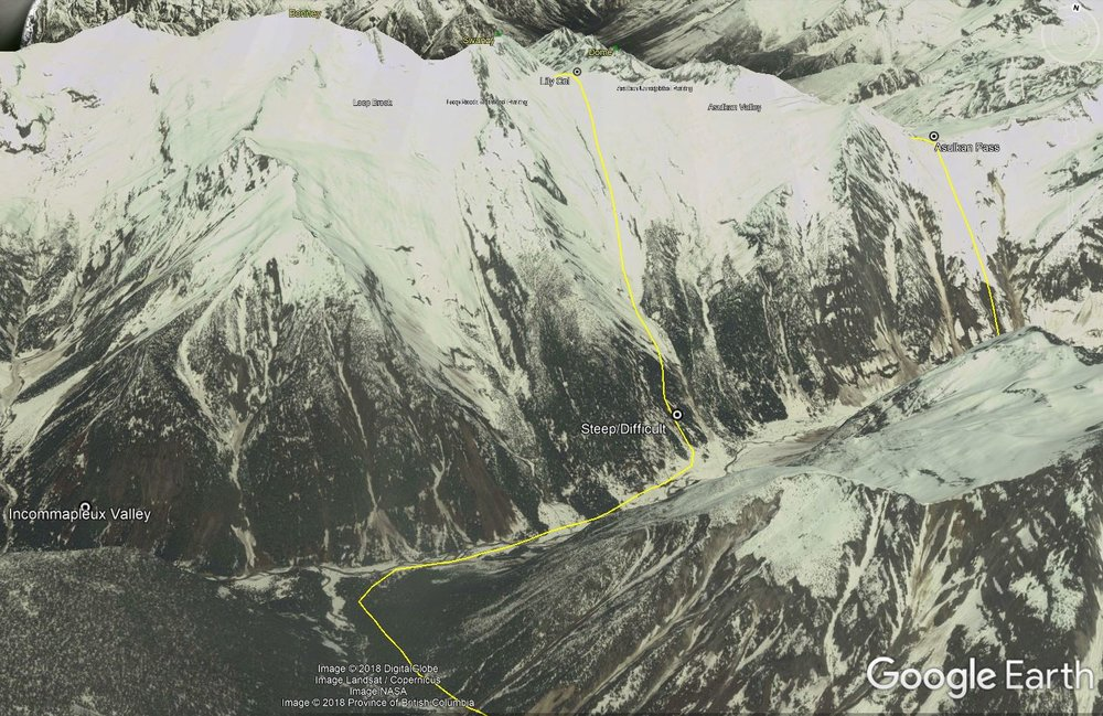 The ascent route from Incomappleux to Lily Col. Route is only approximate.