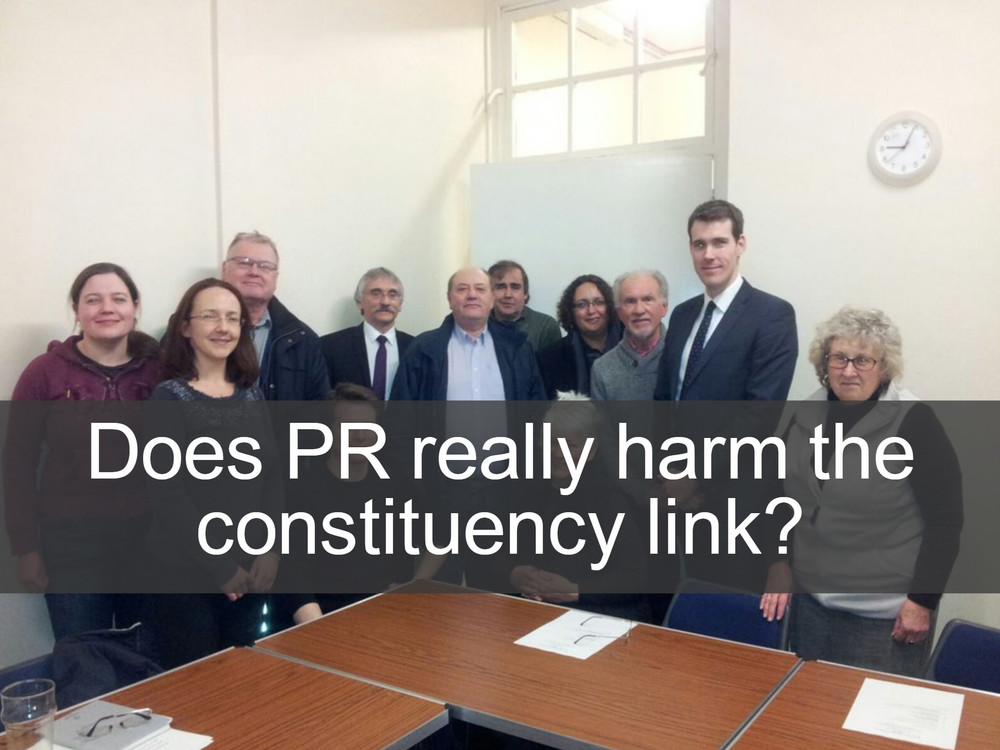 Many MPs who are opposed to PR claim that it would inevitably damage the link between them and their constituents, whose interests they represent. In reality, there are a number of systems of PR that keep or even improve this link. The Additional Member System (AMS) maintains the present principle of one-MP-to-one-constituency, while using top-up lists to ensure that the share of seats a party wins matches the share of the vote the people give them. Systems like the Single Transferable Vote (STV) use multi-member constituencies - meaning that (for example) five MPs are elected to represent a given area. One advantage of this is that many more people than at present have a local representative who is sympathetic to their views who they can approach with their concerns. For more information see our voting systems page.