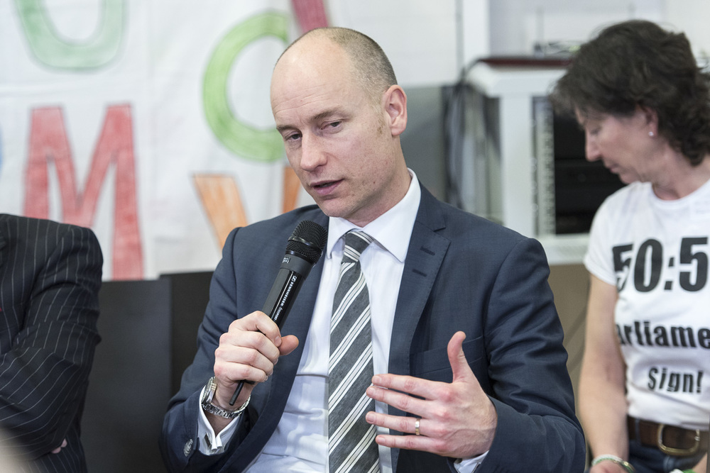 Stephen Kinnock speaking to delegates at the PR Alliance Building Conference. Photo: Nick Hooper