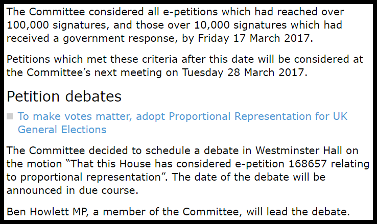Decision from the Petitions Committee website (click image to enlarge)