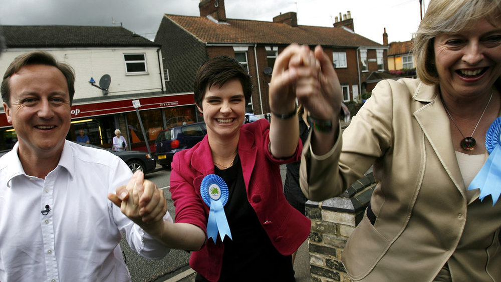 New Minister for the Constitution, Chloe Smith, with David Cameron and Theresa May.