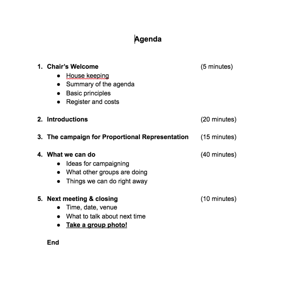 First Meeting Draft Agenda