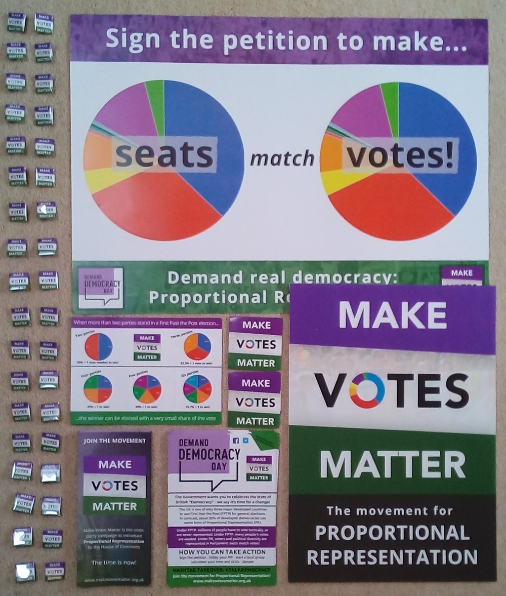 Materials ready to go out to a street stall organiser for Demand Democracy Day.