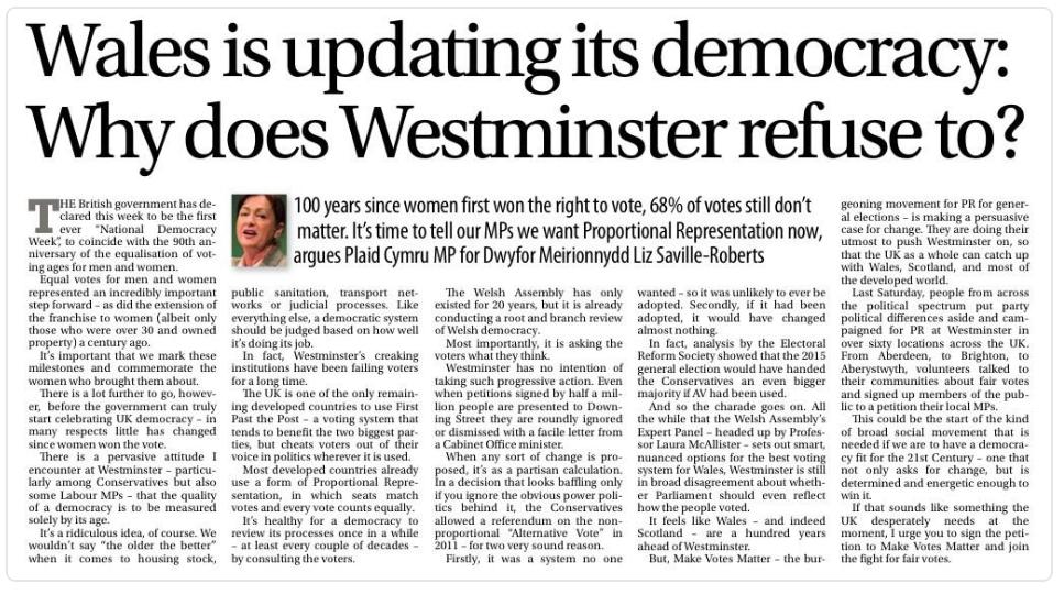 Liz Saville-Roberts MP op-ed,Western Mail