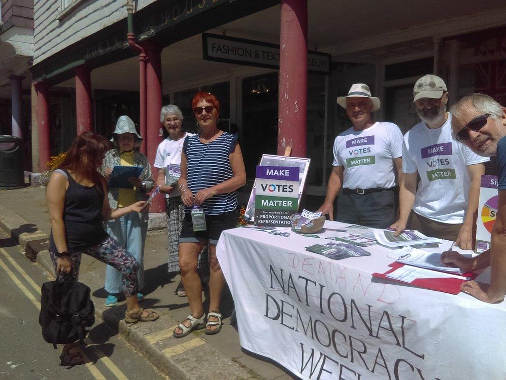 Members of MVM Totnes during Demand Democracy Day