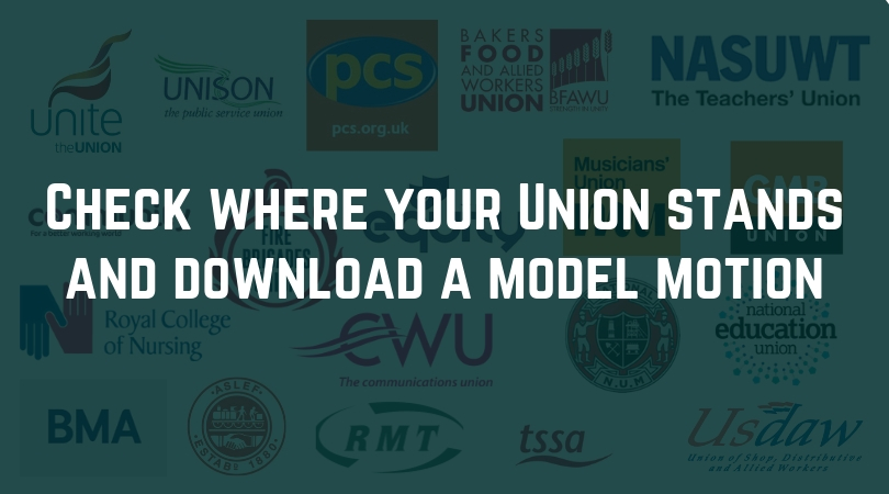 Check where your union stands and download a model motion