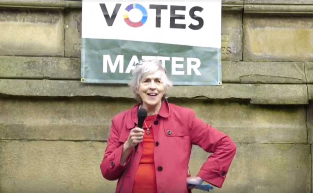 Mary Southcott addresses a crowd of electoral reformers in Manchester
