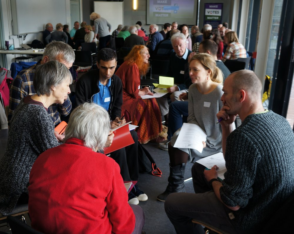 Campaigners discuss actions on winning PR at the Bristol Movement Building Day in March
