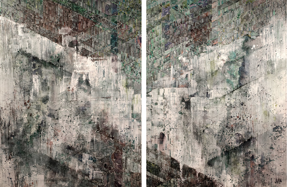 "Kaskaskia  [diptych] Watercolor, acrylic, and graphite on panel 40 x 24"" 2014"