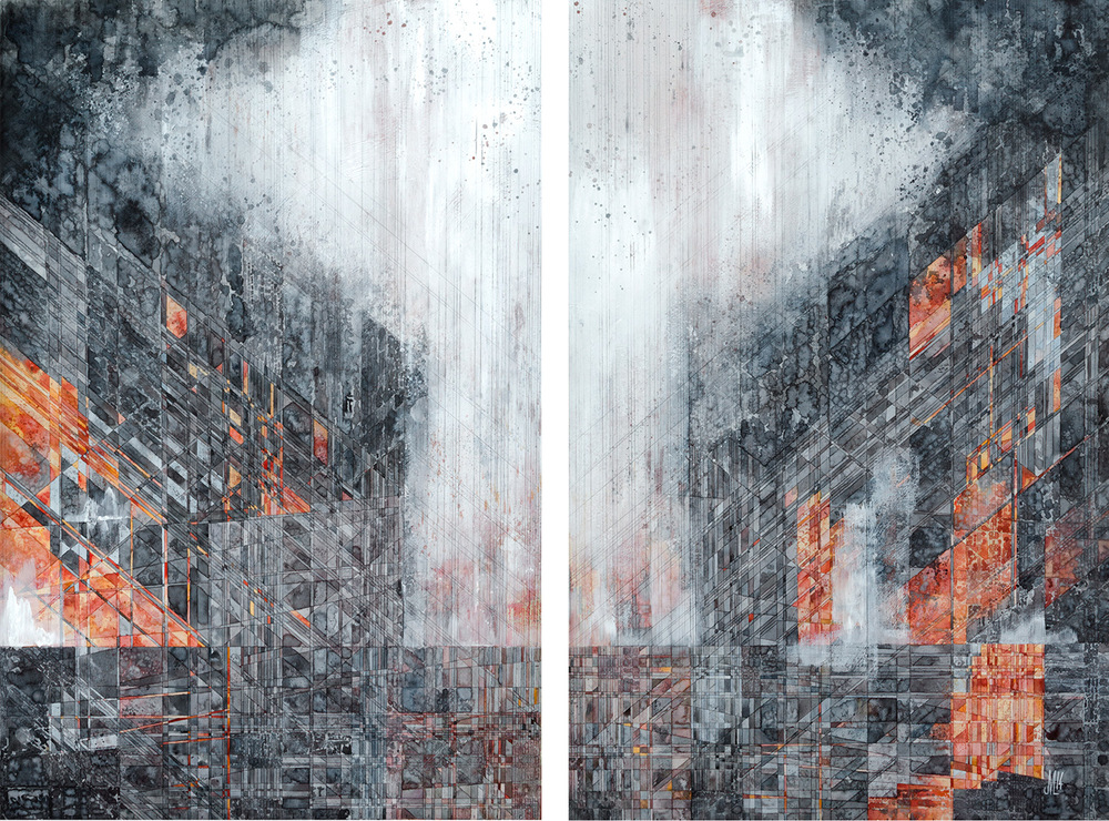 "Holbrook  [diptych] Watercolor, acrylic, and graphite on panel 50 x 36"" 2014"