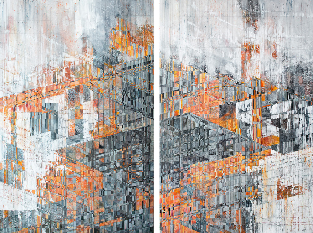 "Nehring  [ landing at dusk ] [diptych] Watercolor, acrylic, and graphite on panel 50 x 36"" 2015   See more of this painting at  Behance"