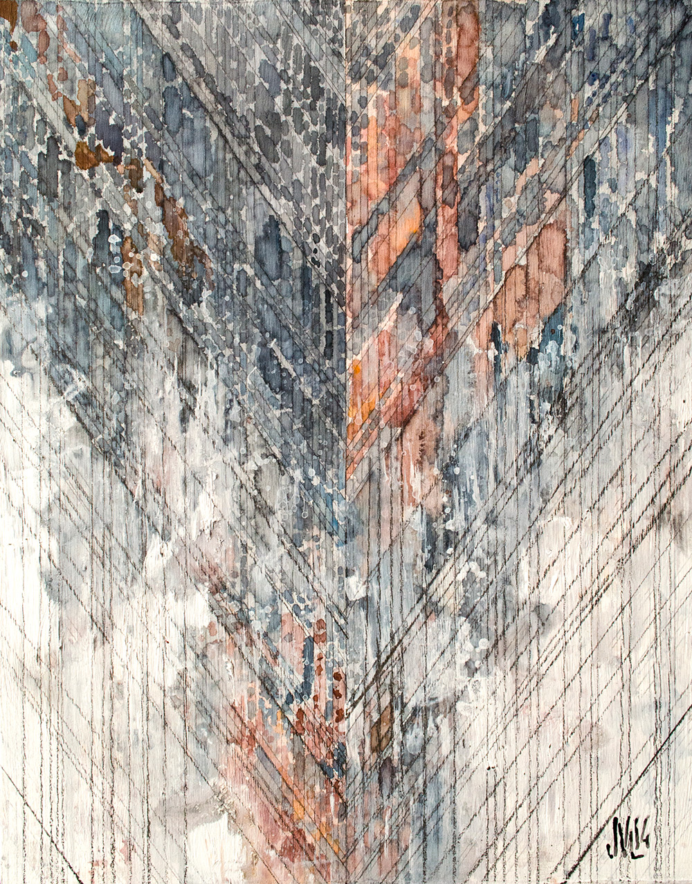 "Mastoid  Watercolor, acrylic, and graphite on panel 11 x 14"" 2014"