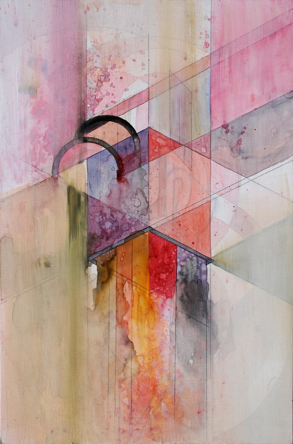 "Second Floor  Mixed media on panel 10 x 14"" 2011"