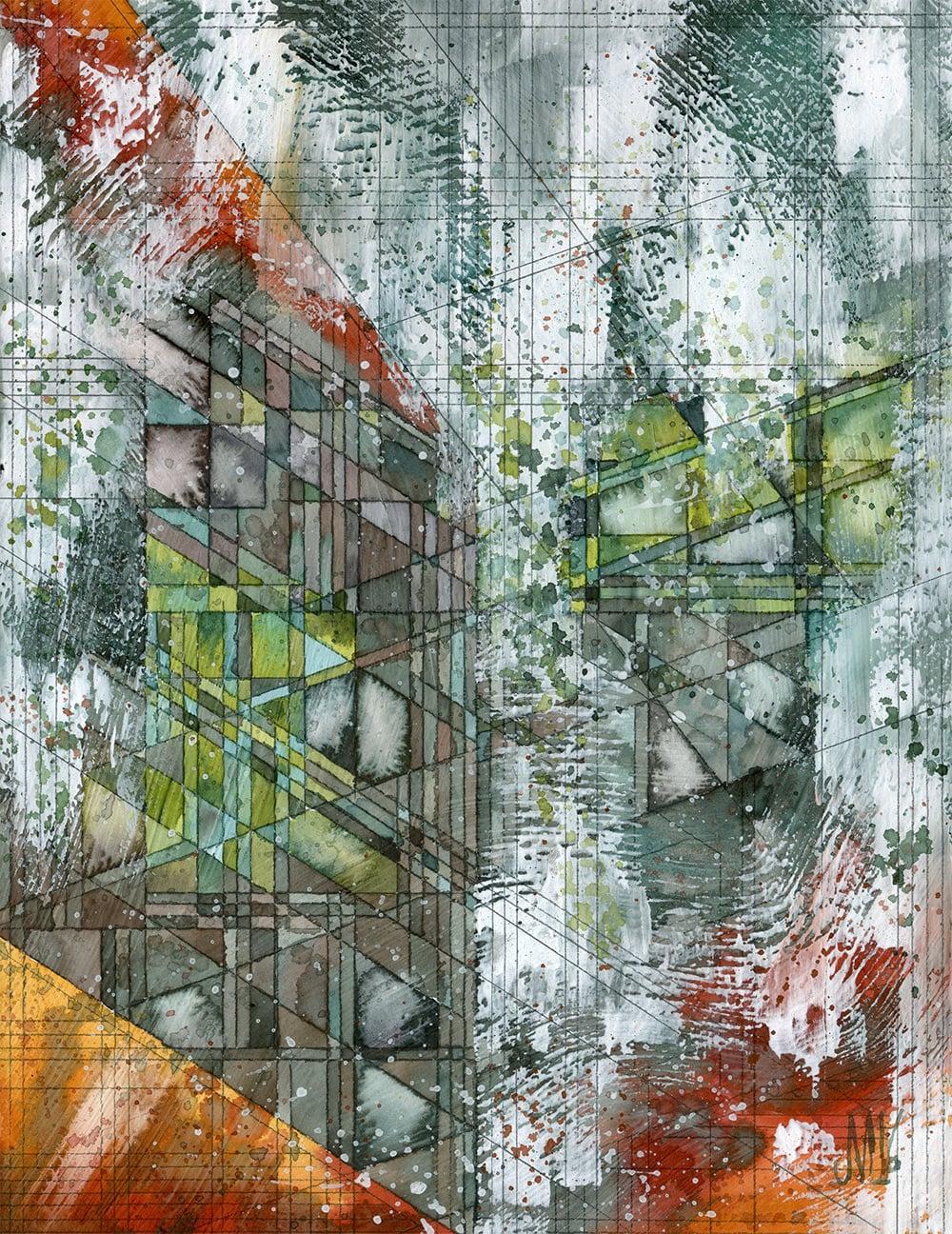 """Lichen  Watercolor and graphite on panel 9x12"""" 2016"""