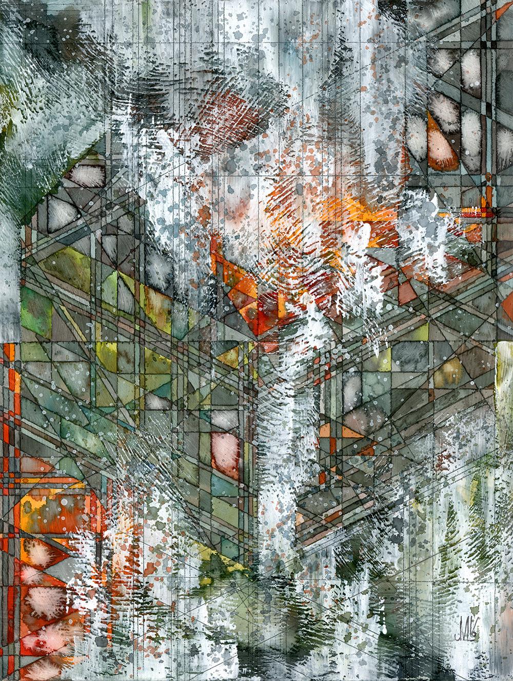 """Lichen II Watercolor and graphite on panel 12x16"""" 2016"""