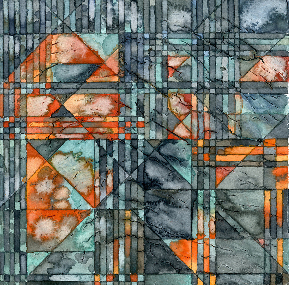 "Erasure Noise III  Watercolor and graphite on panel 6x6x1.5"" 2016"