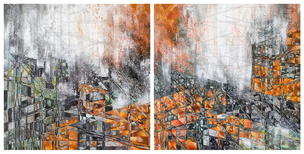 """The Lowhead  [diptych] Watercolor and graphite on panel 24 x 50 x 2"""" 2016"""