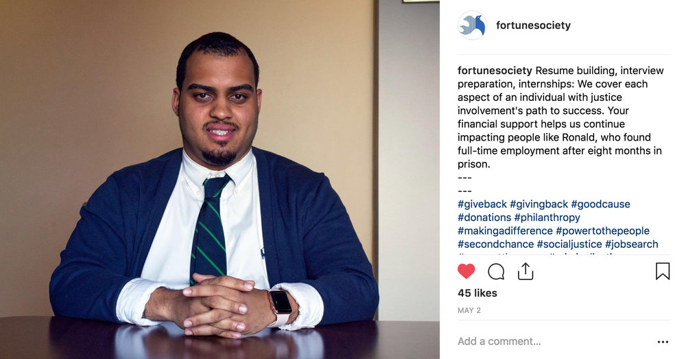 An Instagram post I photographed and wrote on May 2, 2018 while a contracted social media specialist for The Fortune Society