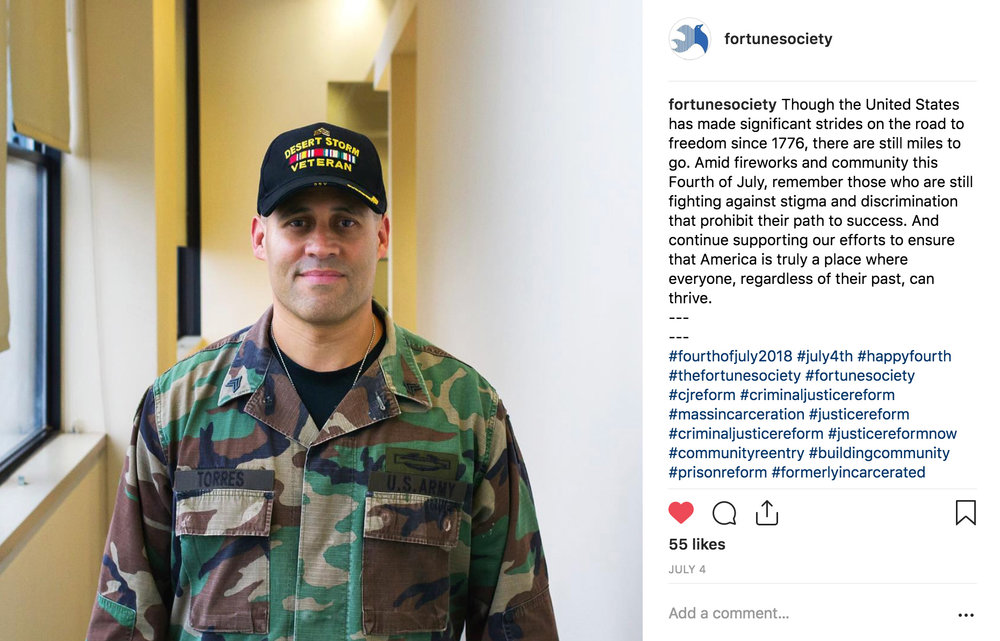 An Instagram post I photographed and wrote on July 4, 2018 while a contracted social media specialist for The Fortune Society