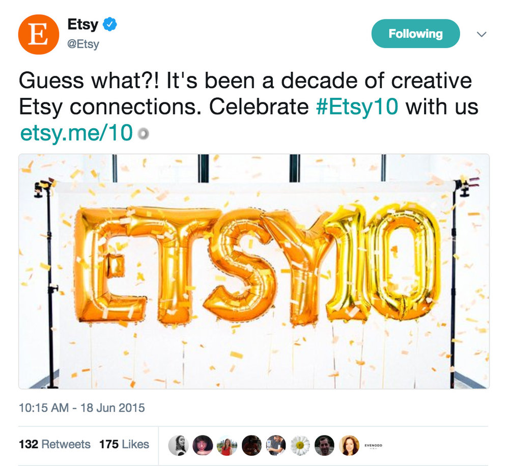 A tweet I wrote on June 18, 2015 while a Lead Social Media Specialist for Etsy