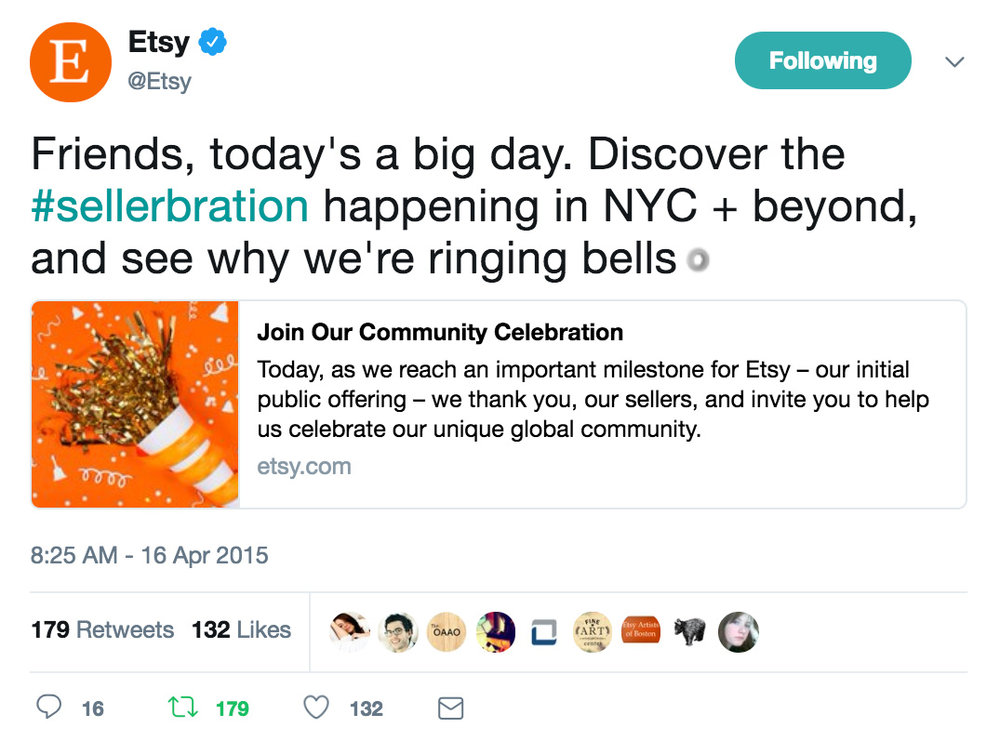 A tweet I wrote on April 16, 2015 while a lead social media specialist for Etsy
