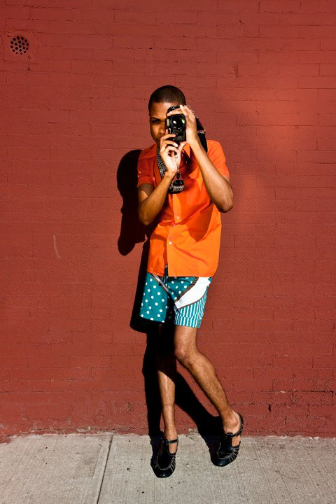 While working for BurdaStyle.com in 2010, I modeled their Men's Swim Trunks sewing pattern. Photo by Trujillo | Paumier