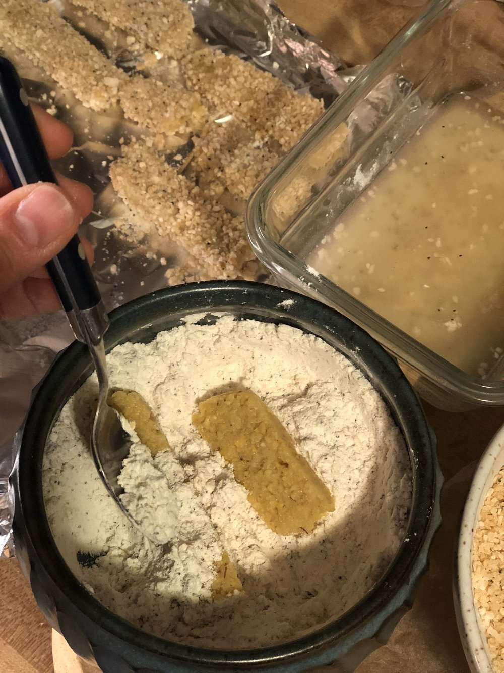 3 step dipping process: aquafaba, flour mixture, panko