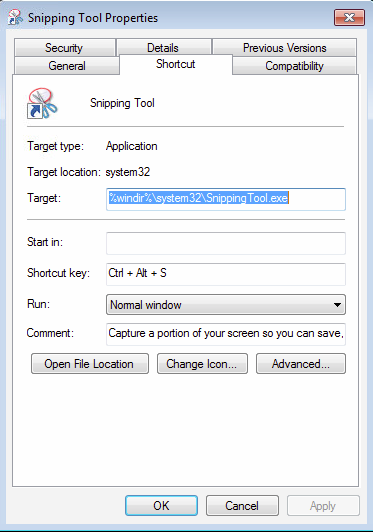 A custom hot-key assigned to Snipping Tool