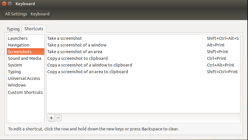 Keyboard shortcut settings window for Screenshots with a custom hot-key assigned to the first item.