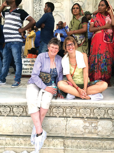 Alison brown (left) AND pATTY lAtAILLE VISIT nEW dELHI iNDIA FOR A RECENT 2-WEEK WOMEN'S ECONOMIC FORUM.  BOTH WOMEN RECEIVED AWARDS AT THE FORUM FOR THEIR YEARS OF WORK IN THEIR RESPECTIVE FIELDS.  BROWN WAS GIVEN THE ICONIC WOMAN IN SCIENCE LEADERSHIP AWARE AND LATAILLE WAS NAMED ICONIC WOMAN IN HUMANITARIAN APPROACHES TO JUSTICE AND REHABILITATION.