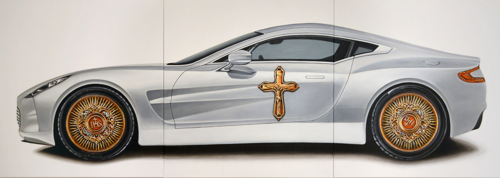 The Car (Aston), IHS series, 2014, Oil on Canvas, 63 x 177, (160 x 450 cm)