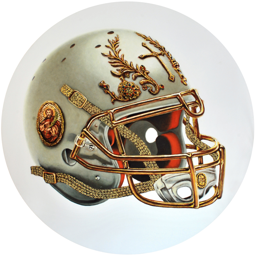 Helmet, IHS series, 2013, Oil on Canvas, diameter 67 in (170cm)