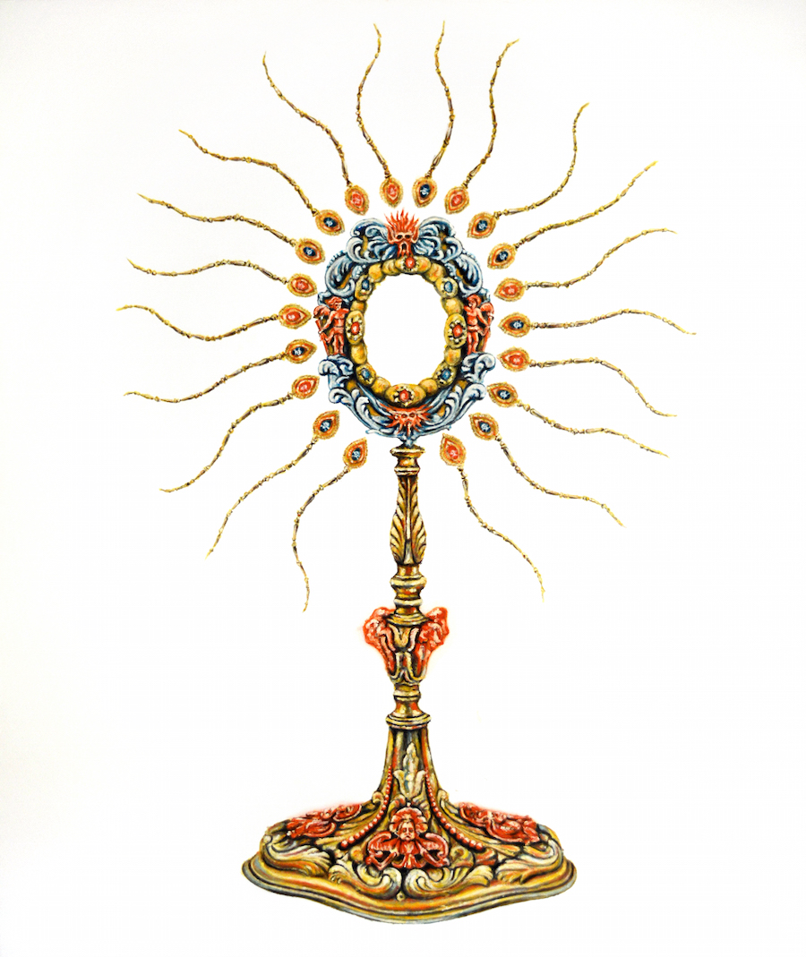 Monstrance I, IHS series, 2016, Oil on Canvas, 75 x 63 in (190 x 160 cm)