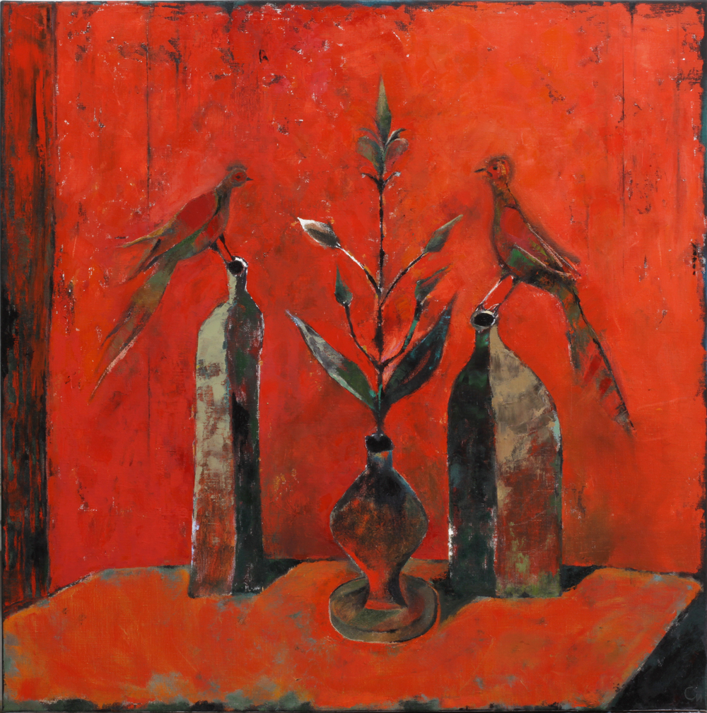"Dialog in Red,  Oil on Canvas, 32"" x 32"" (80 х 80 cm)"