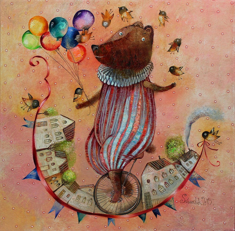Equilibrist. 2015. 26 x 26 in. (65х65cm). Oil on canvas