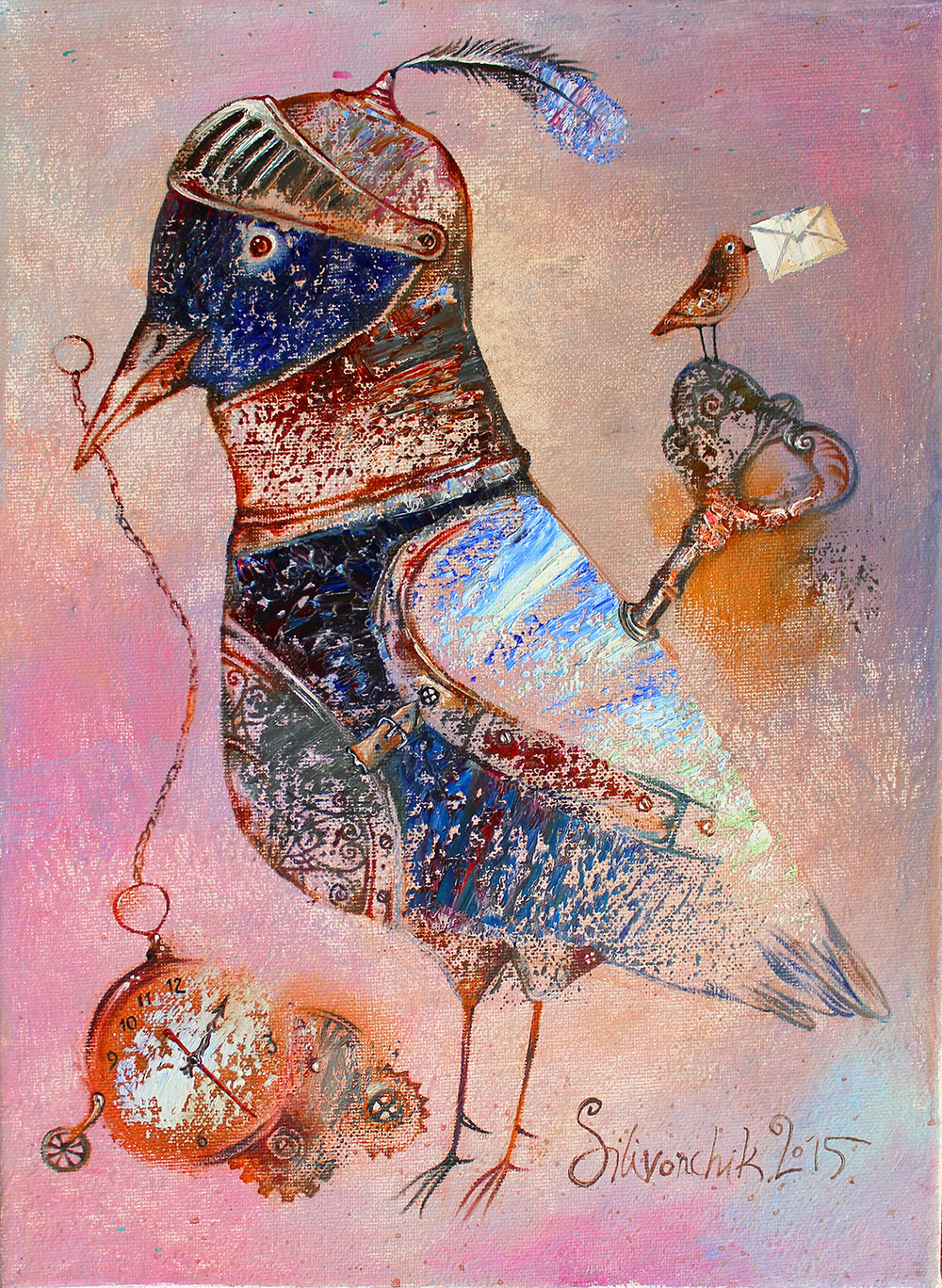 Clockwork Bird. 2015. 16 x 12 in (40x30cm). Oil on canvas