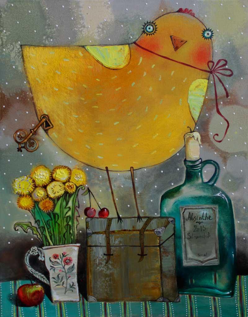Clockwork Birdie. 2013. 20 x 16 in (50х40cm). Oil on canvas