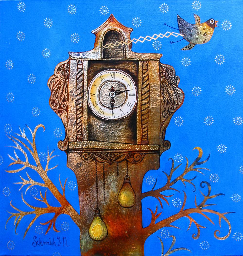 Cuckoo Clock. 2012. 24 x 24 in (60х60cm). Oil on canvas.