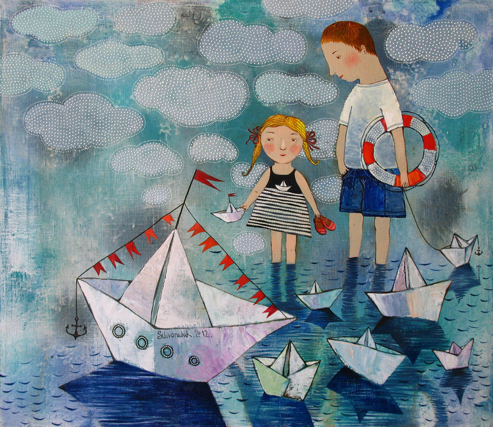 Paper ships. 2012. 24 x 28 in (60х70cm). Oil on canvas