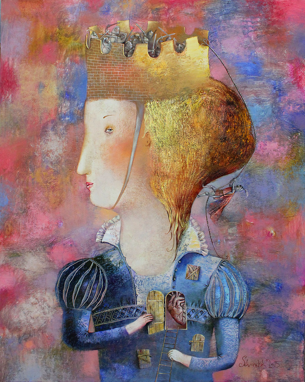 Knights of My Heart. 2015. 39 x 32 in. (100x80cm). Oil on Canvas.
