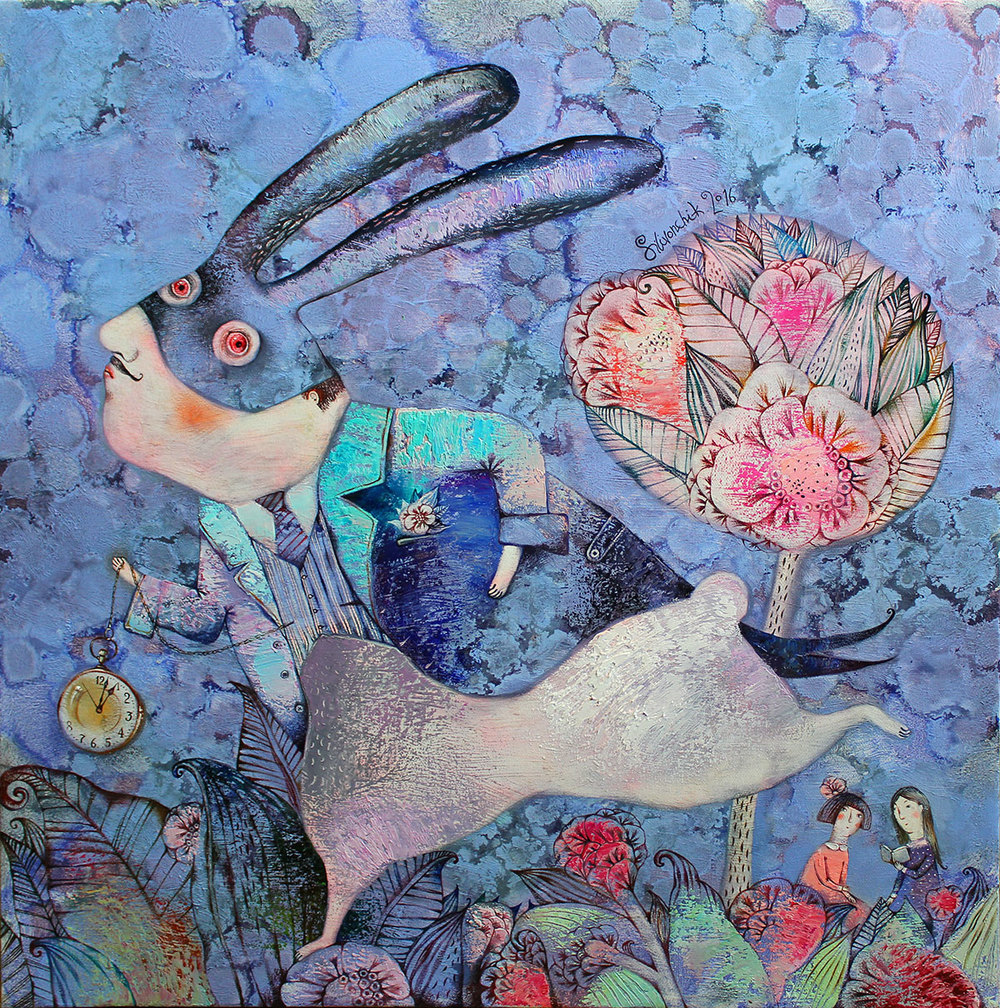 White Rabbit with Black Ears. Alice in Wonderland.2016. 26 x 26 in. (65x65cm). Oil on canvas