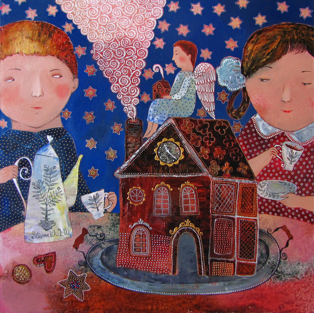 Gingerbread House, 2011, Oil on Canvas, 26 x 26 in (65 x 65 cm)