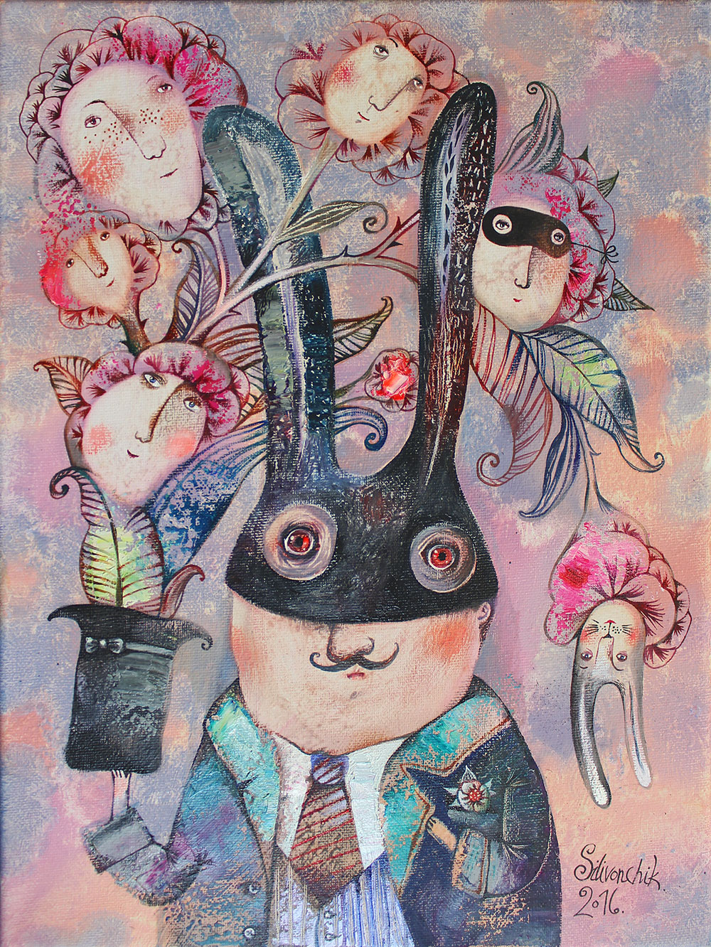 Magic Rabbit (Alice in Wonderland), 2016, Oil on Canvas, 16 x 12 in(40 x 30 cm)