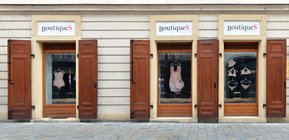 BoutiqueS Antishop, 2014, installation, C-prints on softshell and author's technique, Institut Francais de Slovaquie, Bratislava, Slovakia