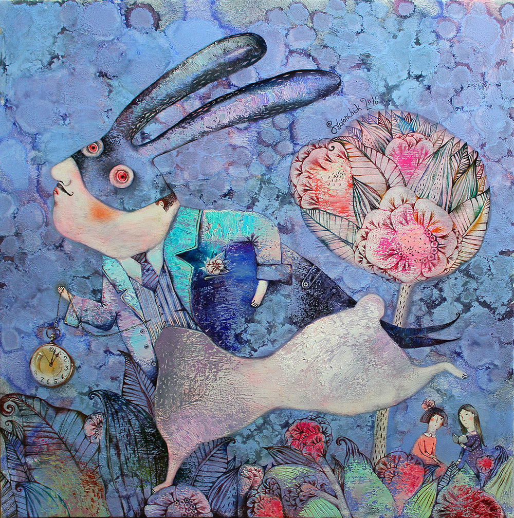 Alice in Wonderland. White Rabbit with Black Ears. 2016. 65x65cm. Oil on canvas