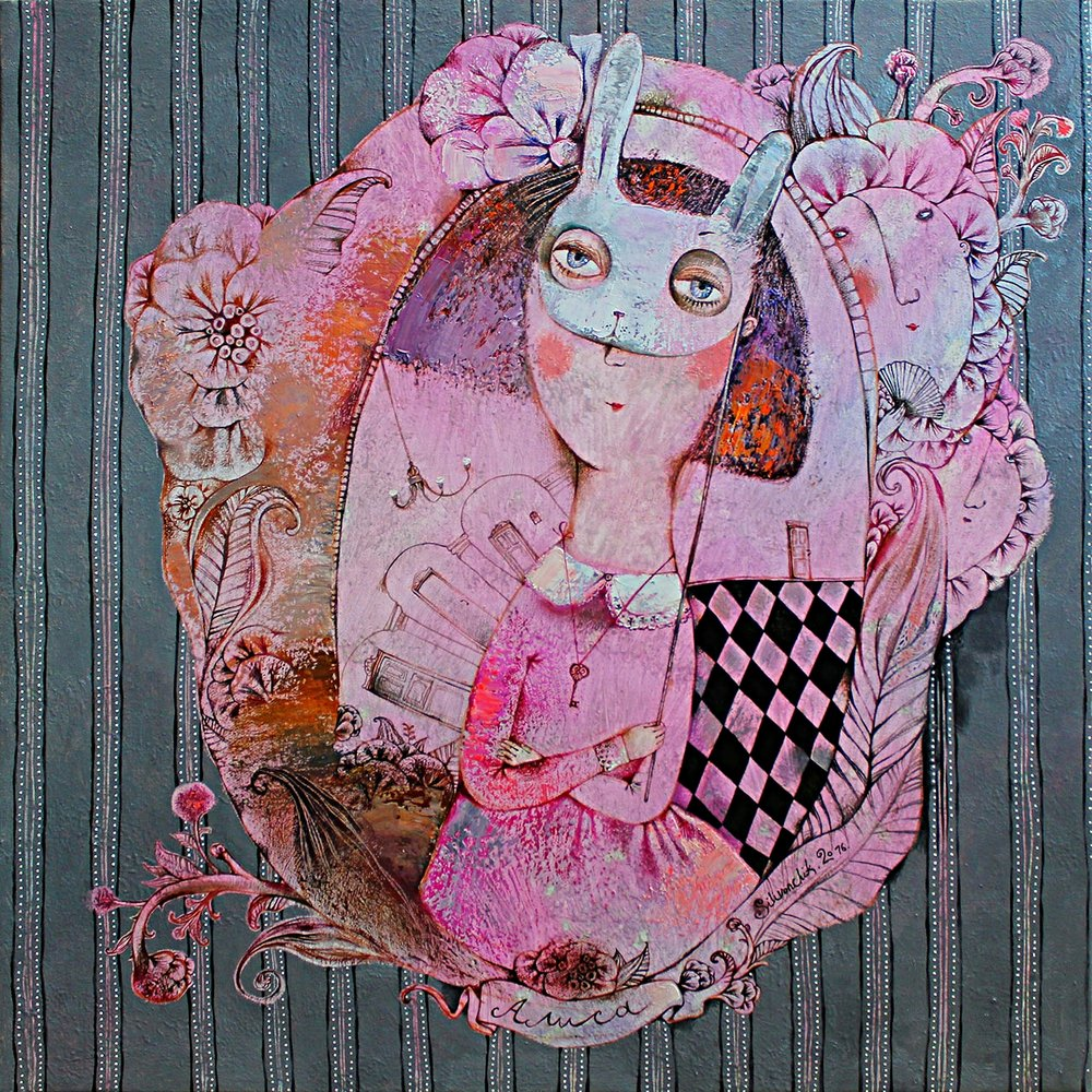 Alice in Wonderland. Alice. 2016. 65x65cm. Oil on canvas