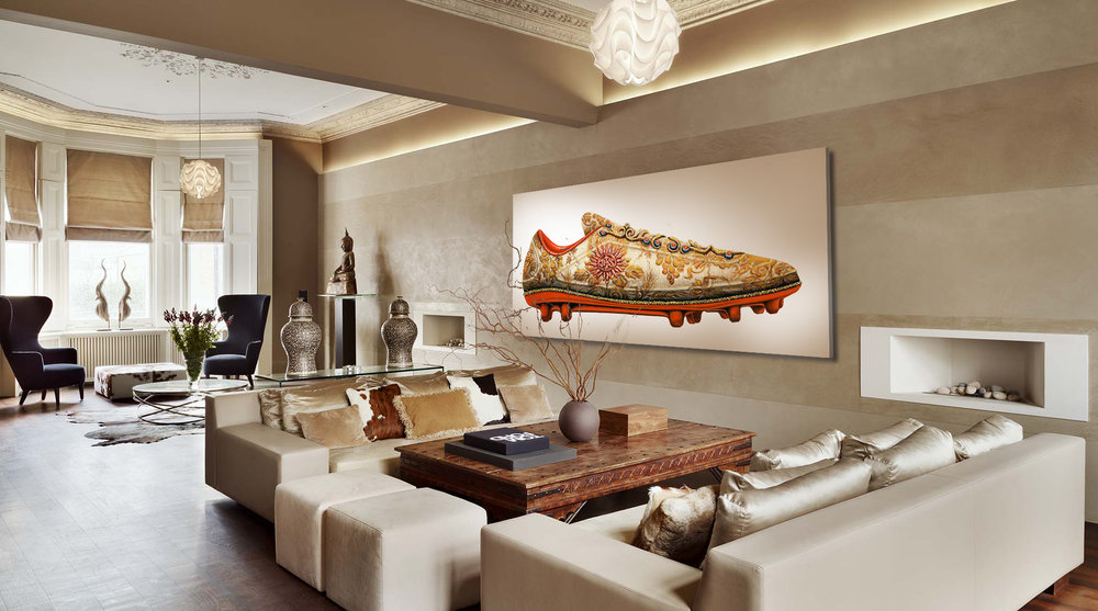 Shoe II (aka Soccer Cleat), IHS series, 2016, Oil on Canvas, 50 x 95 in (124 x 240 cm)